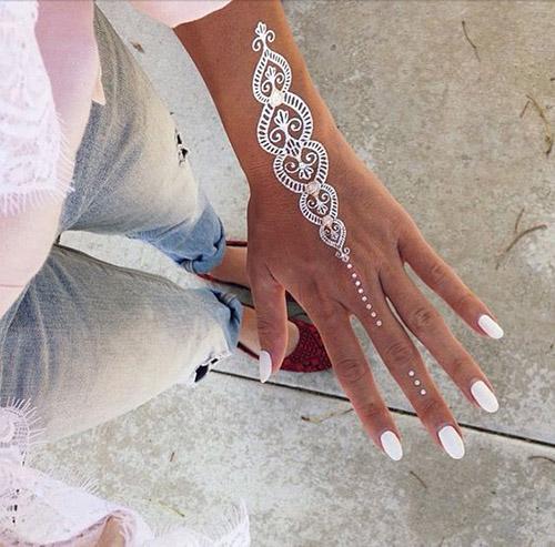 white simple henna hands design