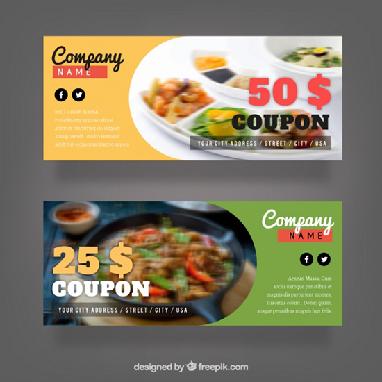 pack-of-discount-coupons-for-food-free-vector