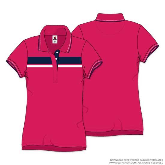 Womens-Polo-Neck-T-shirt-Vector-Template