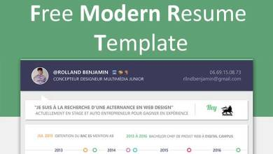 Photo of Free Modern Resume PSD Template – Download