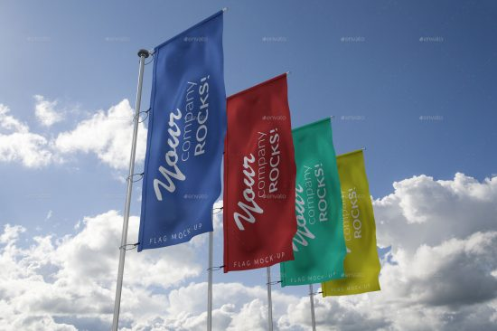 4 flag mockups