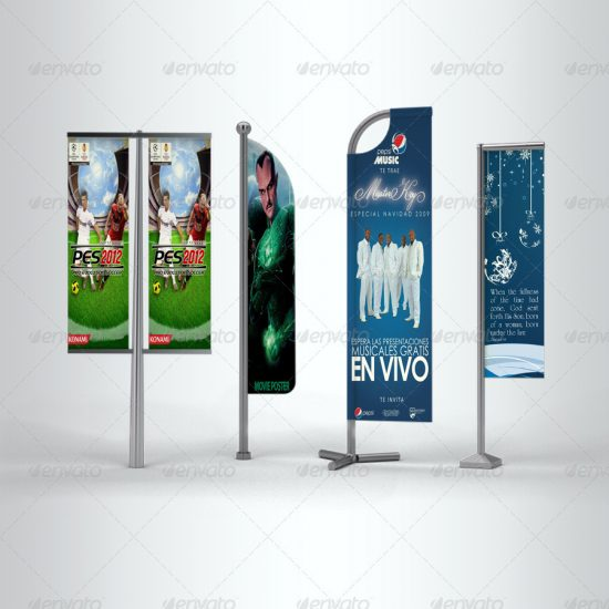 Show your Flag banner with style! Create a realistic Flag banner for your client in few seconds. These PSD files uses the Smart-Object feature, so you can replace the mockup content easily and quickly.