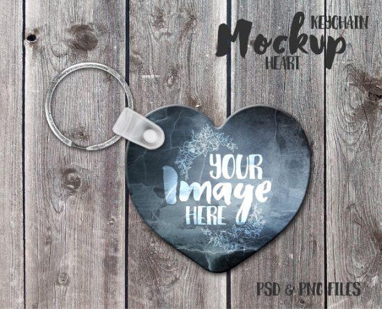 Heart-Keychain-Mockup-Psd