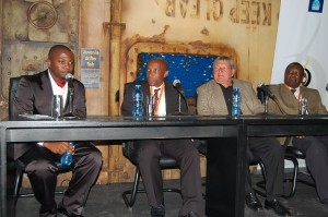 The evening's three panelists were Thabo Dladla, Sugar Ray Zulu and Clive Barker