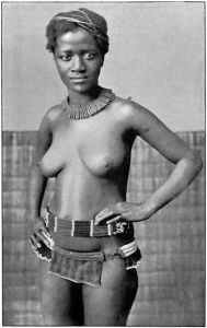 Young Zulu girl wearing leather chastity apron decorated with pearls