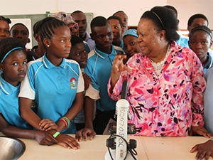 Naledi Pandor addressing a group of learners
