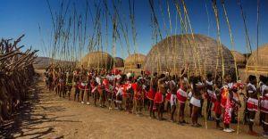 Zulu maidens taking part in Umkhosi woMhlanga