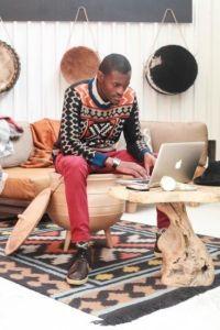 Local knitwear designer, Laduma Ngxokolo