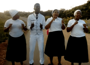 Members of South African Apolistic Holy Church of the World singing the song, Mawungangilahli
