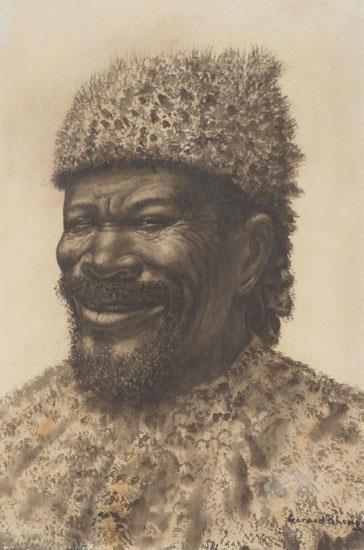Portrait of a Zulu inDuna by Gerard Bhengu,
