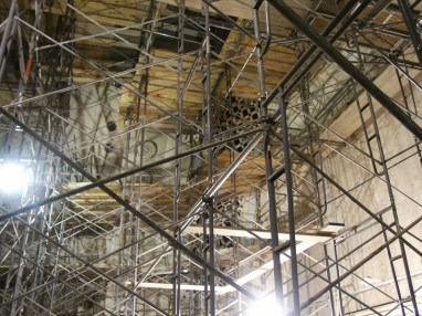 Scaffolding on stage left looking west