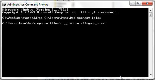 copy command in Windows command prompt combines multiple csv files into one