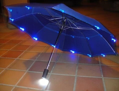 Folding Adult Umbrella With Ribs And Handle Lights
