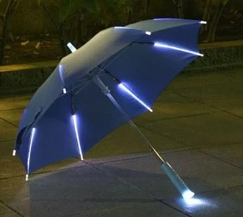 Straight Children Umbrella With Handle And Ribs Lights