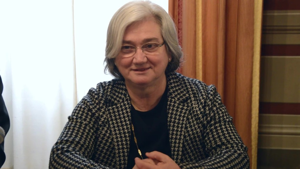 Rosy Bindi, la presidente della Commissione Parlamentare Antimafia a Perugia