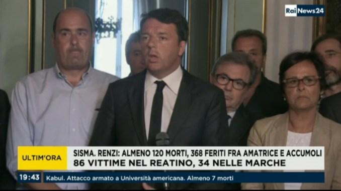 """Terremoto Centro Italia: Renzi, almeno 120 morti, non è un bilancio definitivo"""""""