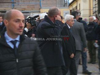 Presidente della Repubblica Sergio Mattarella è arrivato a Norcia