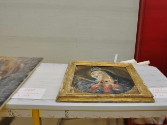 Assessore, arcivescovo, parroci e sindaci Valnerina in visita alle opere d'arte custodite a Santo Chiodo