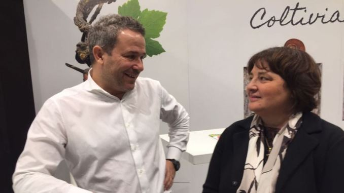Marco Caprai e Fernanda Cecchini nello stand di Confagricoltura Umbria