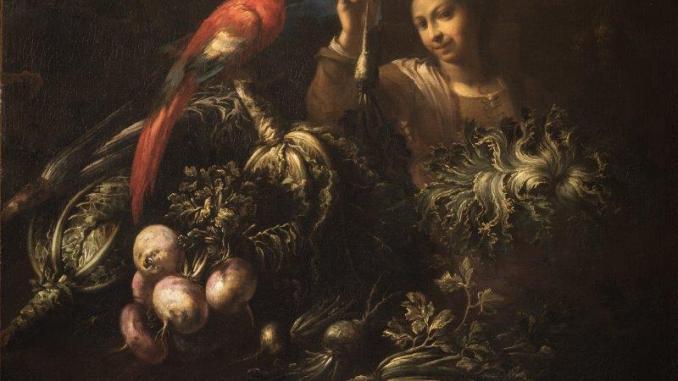 Felice Boselli, Giovinetta che mostra una rapa, ara macao, verze, rape, sedano e insalata riccia, olio su tela, collezione privata