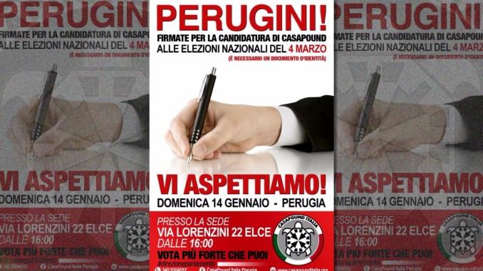CasaPound Umbria raccolta firme per la presentazione delle liste