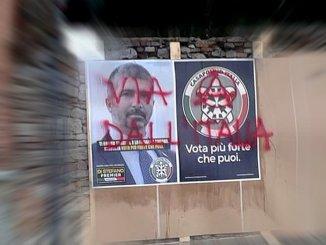 Imbrattati i manifesti elettorali, CasaPound Todi, è d a dementi