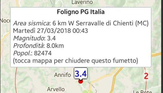 Fortissima scossa di terremoto di 3.4 a Serravalle del Chienti, avvertita in Umbria