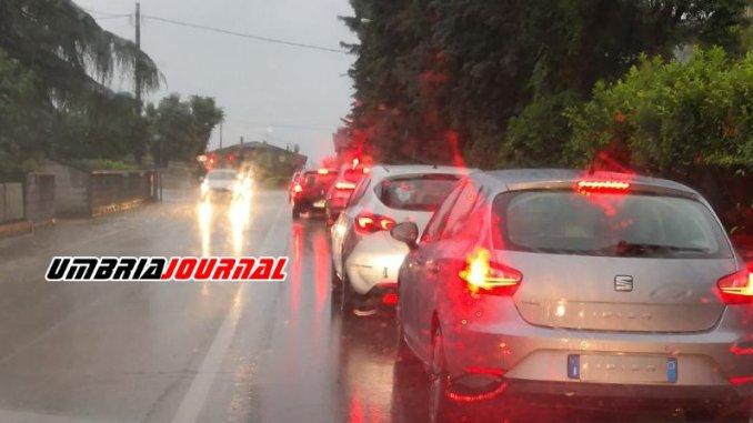 Temporale in Umbria, incidenti e disagi alla circolazione in tutta la provincia