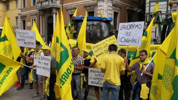 Manifestazione della Coldiretti, Ginetti e Verini con gli agricoltori umbri