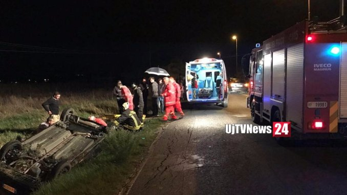 Incidente stradale a Cannara, scontro e un'auto capottata, tre feriti