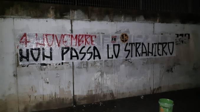 Forza Nuova e Lotta Studentesca Perugia esposto striscioni per celebrazioni 4 novembre