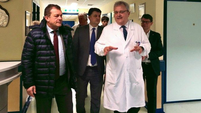 Sottosegretario ministero Salute, Luca Coletto, all'ospedale di Foligno