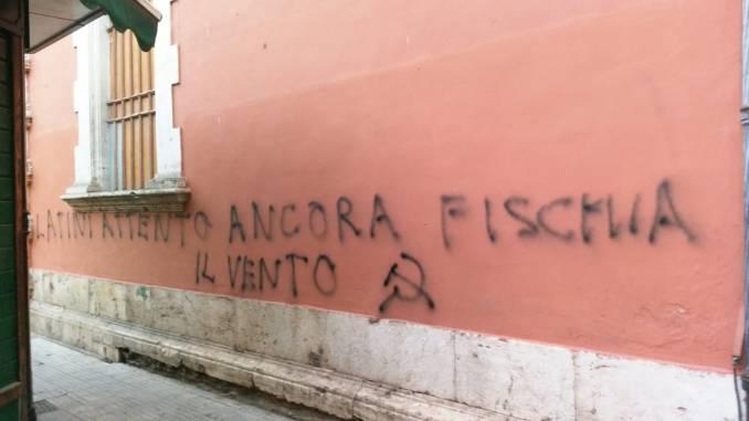 Minaccia al sindaco di Terni, Leonardo Latini, scritta sul muro di un palazzo