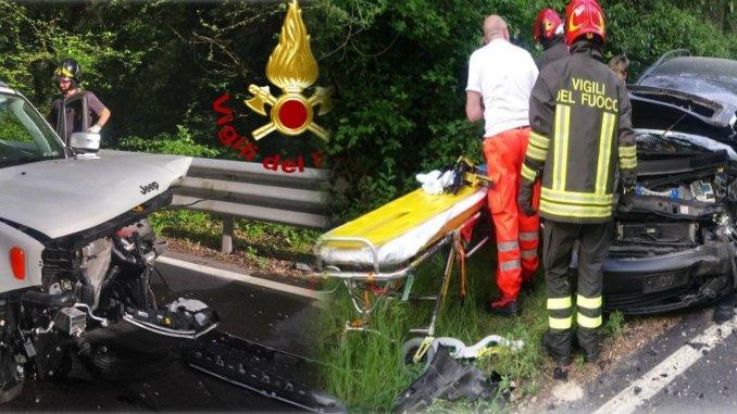 Incidente stradale in Valnerina, scontro frontale tra auto, sulla Statale 685, tre feriti