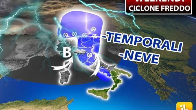 Meteo, ciclone freddo tra sabato e domenica, temporali e neve