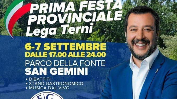 Matteo Salvini a San Gemini alla prima Festa Provinciale della Lega Terni