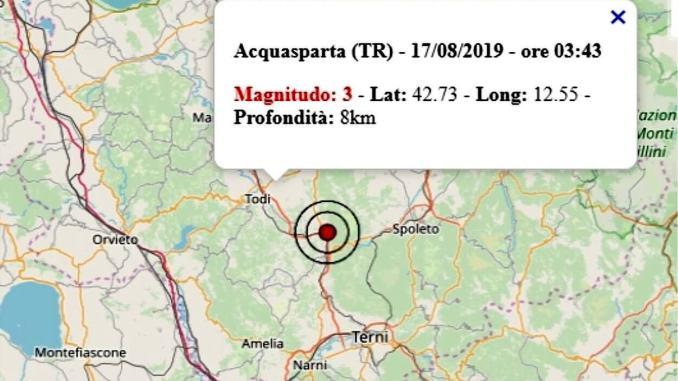 Scossa sismica in bassa Umbria, magnitudo 3.0, dati Ingv
