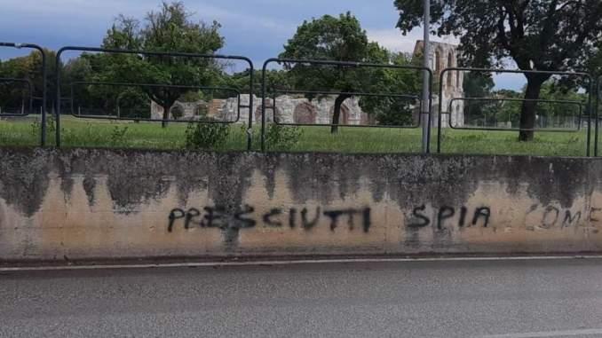 Rivalità tra Gualdo Tadino e Gubbio, scritte contro sindaco Presciutti