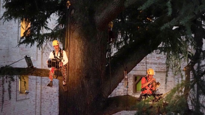 Paolo Fresu e Daniele di Bonaventura suonano tra sul cedro secolare