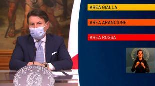 Covid, Italia divisa in tre aree, gialla arancione e rossa, versione definitiva