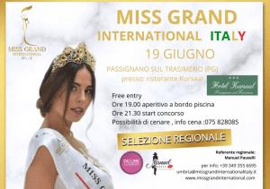 19 giugno, Miss Grand International: appuntamento con la bellezza per la prima tappa umbra del concorso