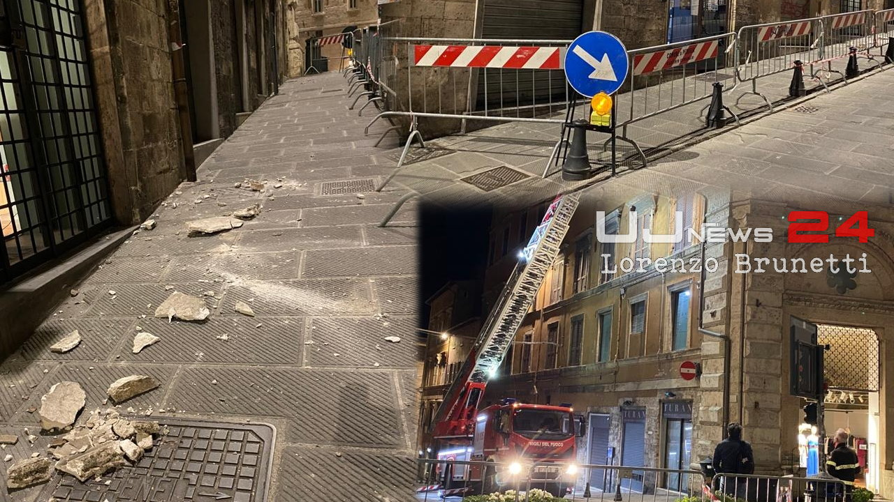 Crolla cornicione in via Calderini, centro storico Perugia, foto e video