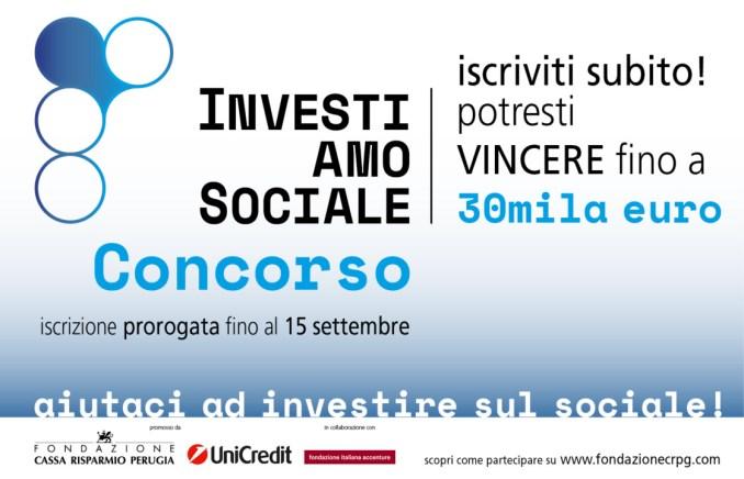 """Concorso """"InvestiAMOsociale"""", termini prorogati al 15 settembre"""