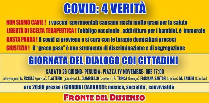 Sabato 26 giugno mobilitazione, a Perugia, contro obbligo vaccinale e green pass