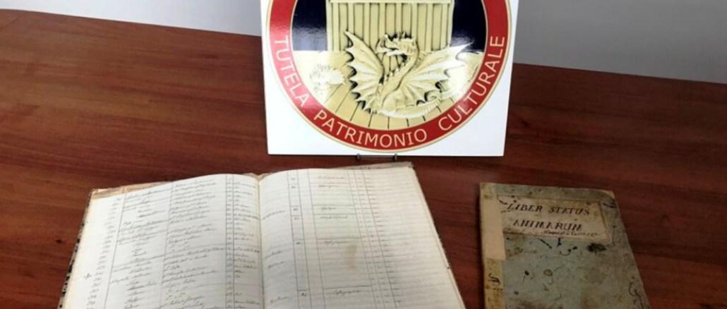 Recuperati due registri manoscritti dell'Ottocento rubati alle parrocchie eugubine