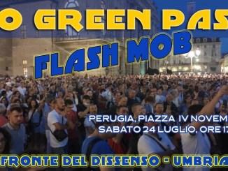24 luglio 2021 - Fronte del dissenso, protesta contro green pass arriva a Perugia