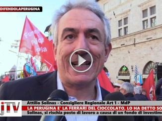 Attilio Solinas allo sciopero della Perugina, colpa di fondi di investimento