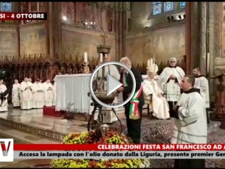 San Francesco ad Assisi, accesa la lampada con l'olio donato dalla regione Liguria