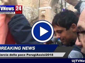 Marcia PerugAssisi il video streaming dall'arco di San Girolamo, intervento del sindaco Andrea Romizi
