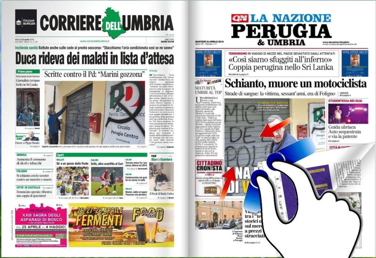 La video rassegna stampa del 23 aprile 2019 Umbria e Italia